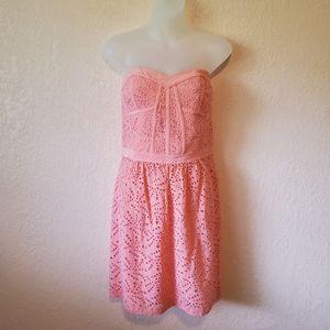 Rebecca Taylor Pink Eyelet Lace Strapless Dress